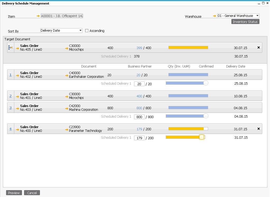 SAP Business One for HANA Lieferdisposition